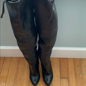 Over the knee tie boots